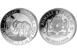 Somalië 2017 100 Shillings 1 Ounce zilver Proof Olifant