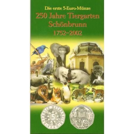 5 Euro Oostenrijk 2002,200 jahre Tiergarten Schönbrunn in Bliste