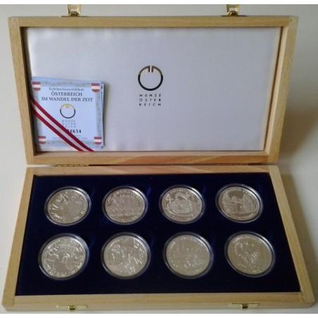 Oostenrijk 20 euro 2002 en 2003  4x & 4x 100 schilling proof in