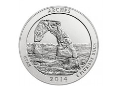 KM ??? U.S.A ¼ Dollar Arches National Park 2014 D UNC