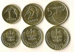 1, 2 & 5 Groszy Polen 2014 Unc Nieuw ontwerp!!