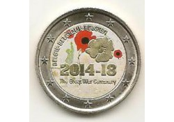 2 Euro België 2014 1e wereldoorlog Gekleurd