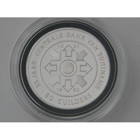 Suriname 1992 50 Gulden Suriname Bank, Proof Incl dsje & cert.