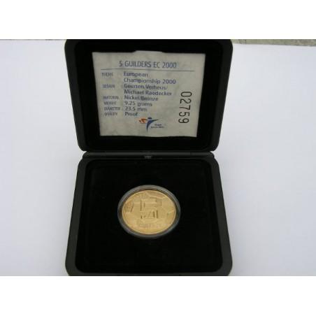 5 Gulden 2000 voetbal Proof met klein muntmeesterteken