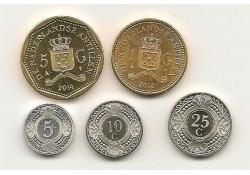 Jaarserie Nederlandse Antillen 2014 5-10-25 cent  1 & 5  gulden