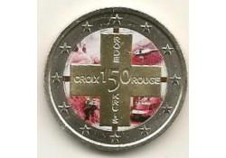 2 Euro België 2014 Rode Kruis Gekleurd