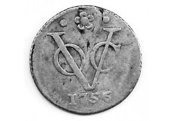 1/2  duit VOC Holland zilver 1756 over 1755 F