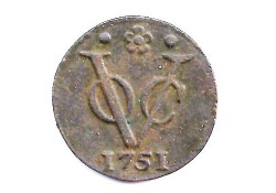 1 duit VOC Holland 1751 ZF