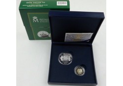 2 Euro Spanje 2014 Troonswisseling Juan Carlos-Felipe Proof met zilveren penning