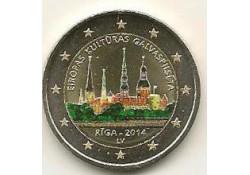2 Euro Letland 2014 Riga, de culturele hoofdstad 2014 Gekleurd