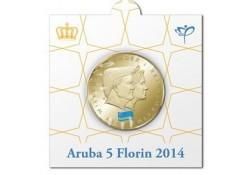 5 Florin Aruba 2014  UNC Dubbelportret Willem-Alexander & Maxima