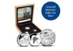 Drie landen zilverset -Waterloo 1815-2015