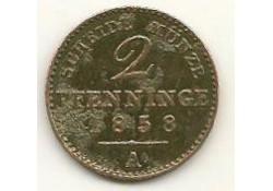 Km 452a Duitsland/Pruissen 2 Pfennig 1858a Zf-