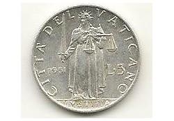 Km 51.1  5 Lire Vaticaan 1951 Zf