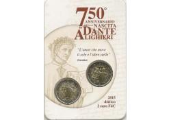 2 Euro Italië 2015 750e geboortedag van Dante Alighieri. in coincard samen met de gewone 2 euro.