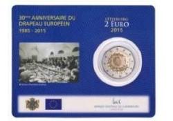 2 Euro Luxemburg 2015Europese vlag Bu in coincard