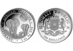 Somalië 2014 100 Shillings 1 Ounce zilver Proof Olifant