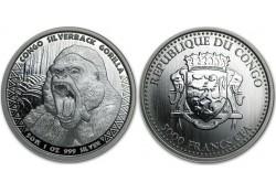Congo Republiek 2016 5000 Francs 1 Ounce zilver Gorille