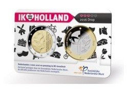 Nederland 2016 2 Euro Holland coin Fair in coincard met penning Thema Drop