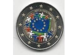 2 Euro Frankrijk 2015 Unc Europese Vlag Gekleurd