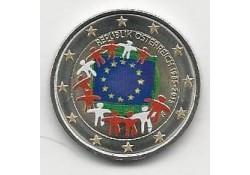 2 Euro Oostenrijk 2015 Unc Europese Vlag Gekleurd