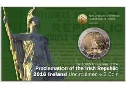 2 Euro Ierland 2016 Paasopstand Bu in coincard
