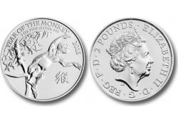 Km ??? Groot Brittanië Jaar van de Aap 2 Pounds 2016 1 Ounce Zilver