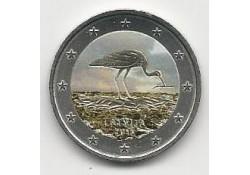2 Euro Letland 2015 Ooievaar Gekleurd