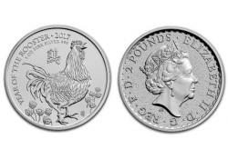 Km ??? Groot Brittanië Jaar van de Haan 2 Pounds 2017 1 Ounce Zilver