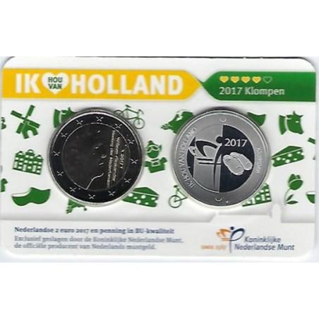 Nederland 2017 2 Euro Holland coin Fair in coincard met ZILVEREN penning Thema Klompen Zeldzaam.