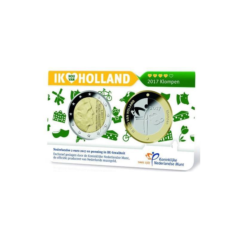 Nederland 2017 2 Euro Holland coin Fair in coincard met penning Thema Klompen