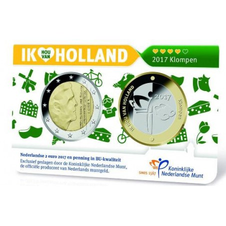 Nederland 2017 2 Euro Holland coin Fair in coincard met penning Thema Klompen