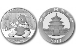 Km ??? China 10 Yuan Panda 2017 1 Ounce zilver