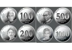 Serie  Indonesië 2016 100/200/500 en 1000 Rupiah UNC
