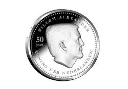 5 Gulden Nederlandse Antillen 2017 Prroof zilver Willem Alexander 50 jaar Voorverkoop*