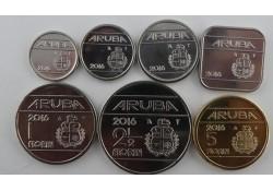 Jaarserie Aruba 2016 Unc met de 1 en 5 Florin Muntmeesterteken ZONDER ster