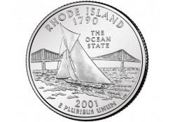 KM 320 U.S.A ¼ Dollar Rhode Island 2001 D UNC