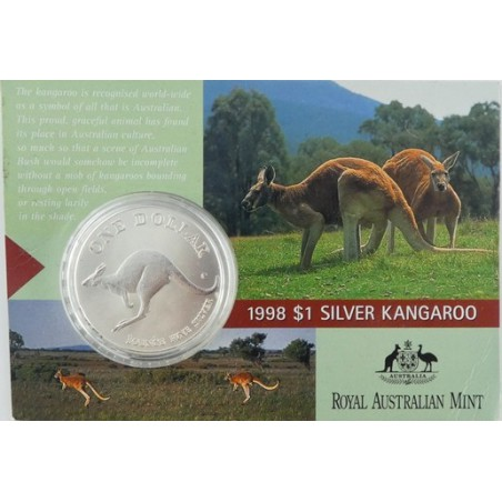 Km ??? Australië 1 Dollar Kangaroe 1998 1 Ounce Zilver