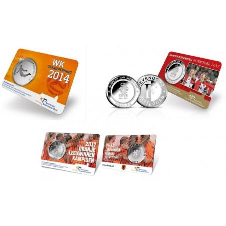3 Voetbal Penningen WK/Feyenoord & Leuwinnen in coincard