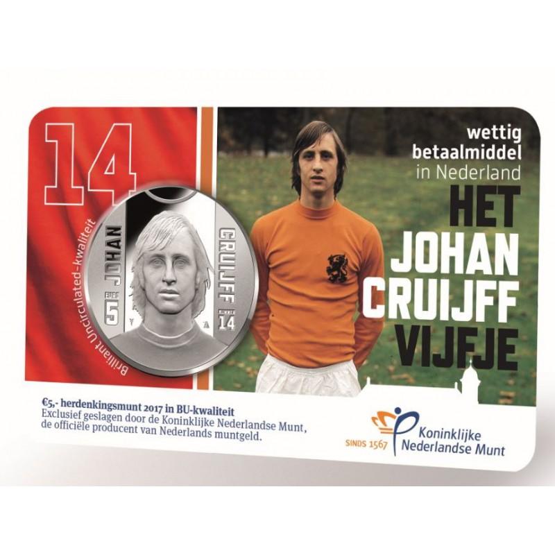 Nederland 2017 5 Euro Het Johan Cruijff vijfje BU in Coincard