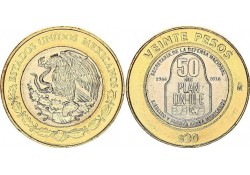 Mexico 2016 20 Pesos 50 jaar ministerie van defensie Unc