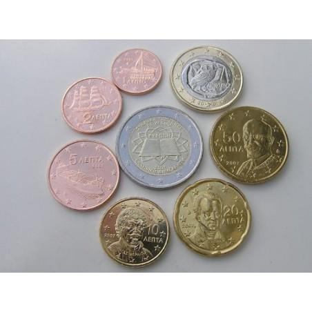 Serie Griekenland 2007 UNC Met de 2 euro Verdrag van Rome