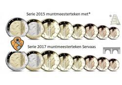 Nederland 2017 & 2015 Jaarserie met nieuwe muntmeestertekens ZELDZAAM