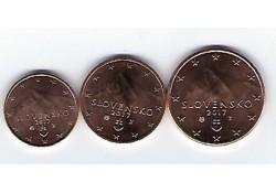 1, 2 en 5 cent Slowakije 2017