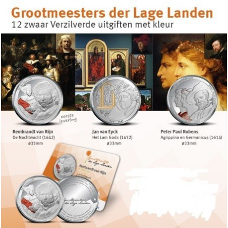 Nederland 2014 complete serie van 12 coincards Grootmeesters der lage landen