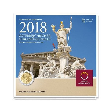 Bu set Oostenrijk 2018 met de 2 euro 100 jaar Republiek