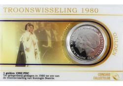 Nederland 1980 1 gulden dubbelportret Fdc in coincard