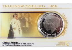 Nederland 1980 2½ gulden dubbelportret Fdc in coincard