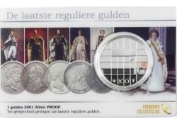 Nederland 2001 De laatste reguliere gulden zilver Proof in coincard