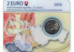 2 Euro Slowakije 2018 25 jaar Slowaakse Republiek Bu in coincard
